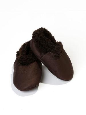 Baby sko lammeskinn – Sjokolade