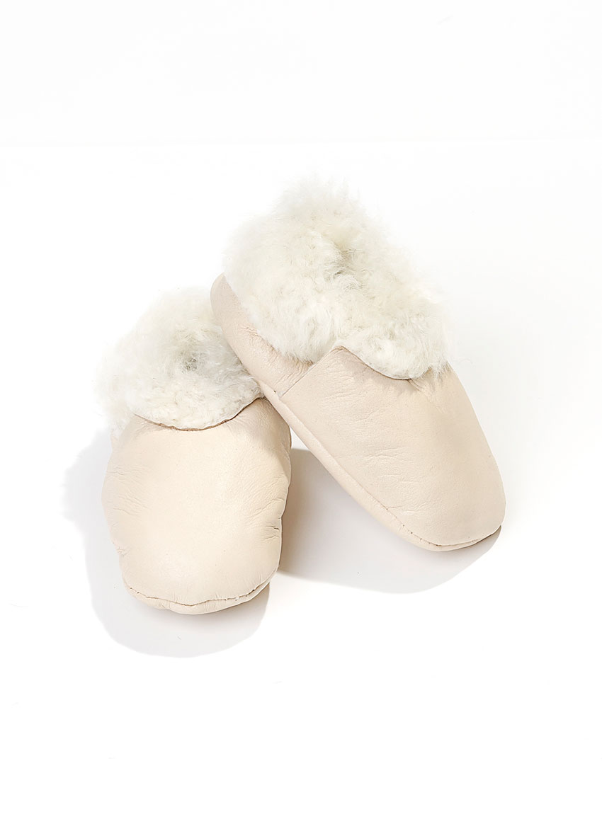 Baby sko lammeskinn – Krem