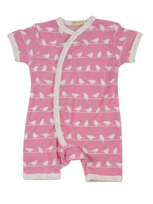 Bodystocking kortærmet - Pink med små fugle