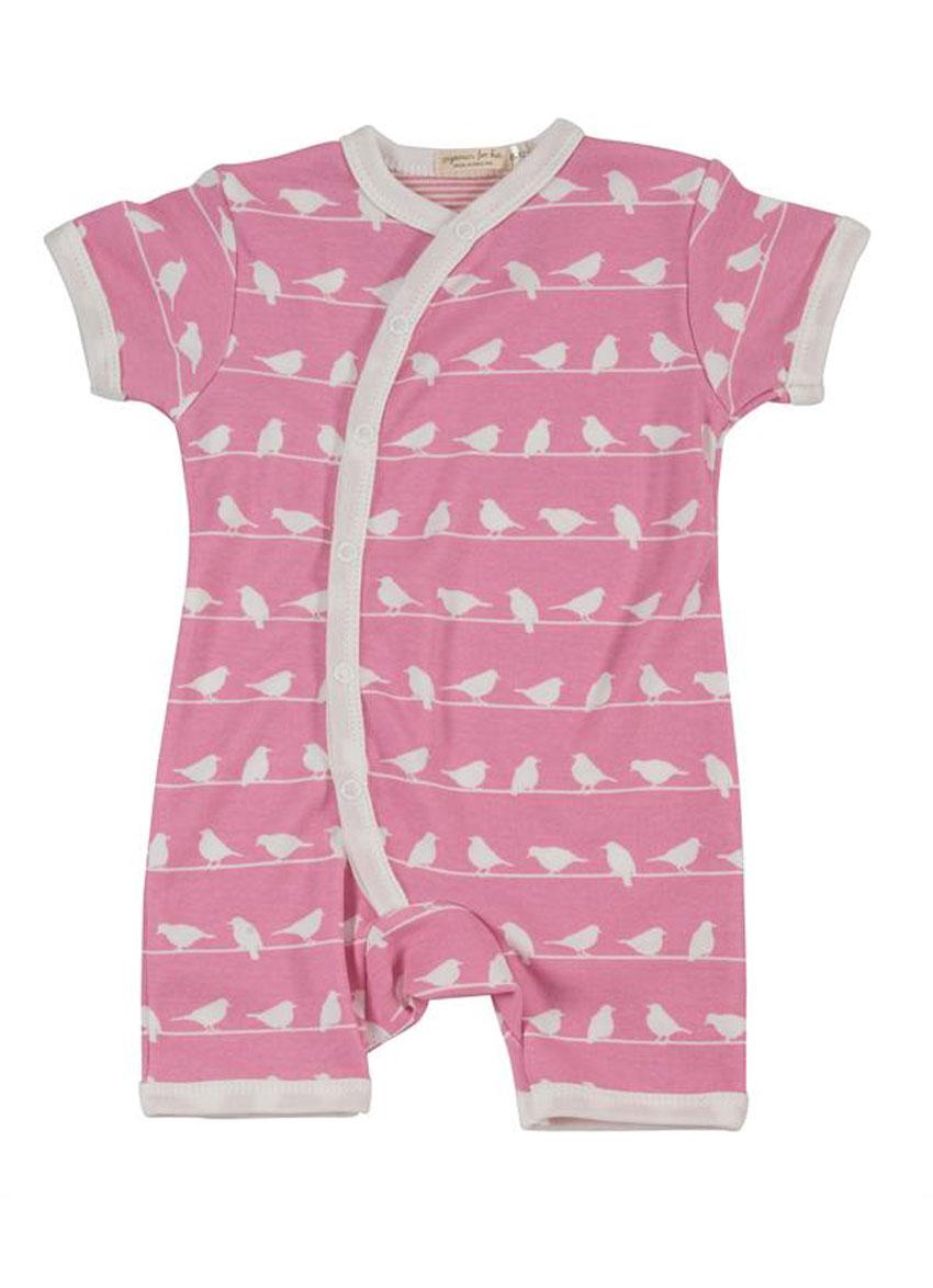 Bodystocking kortærmet – Pink med små fugle