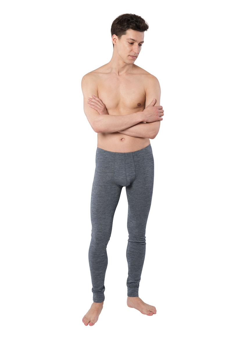 Long men's underpants in wool and cotton