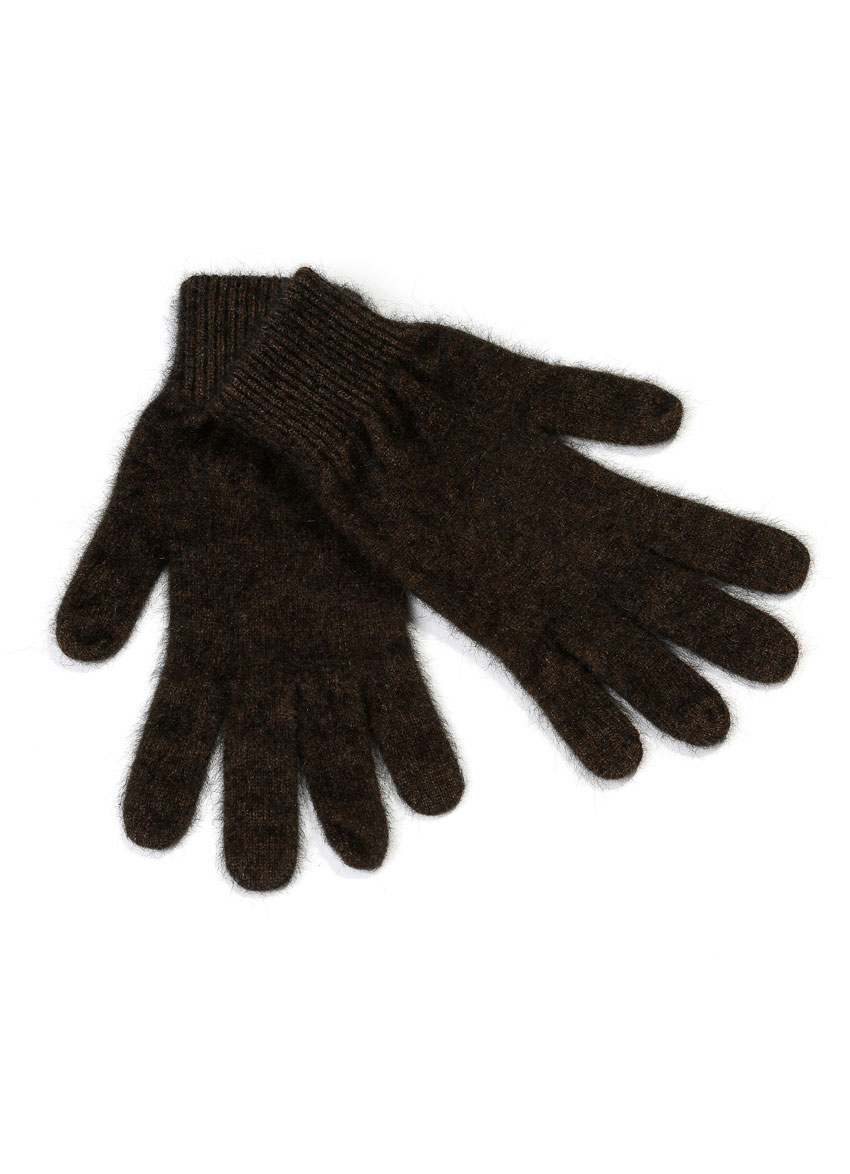 Gloves in blend of Merino wool and Possum fur. Color: Ebony